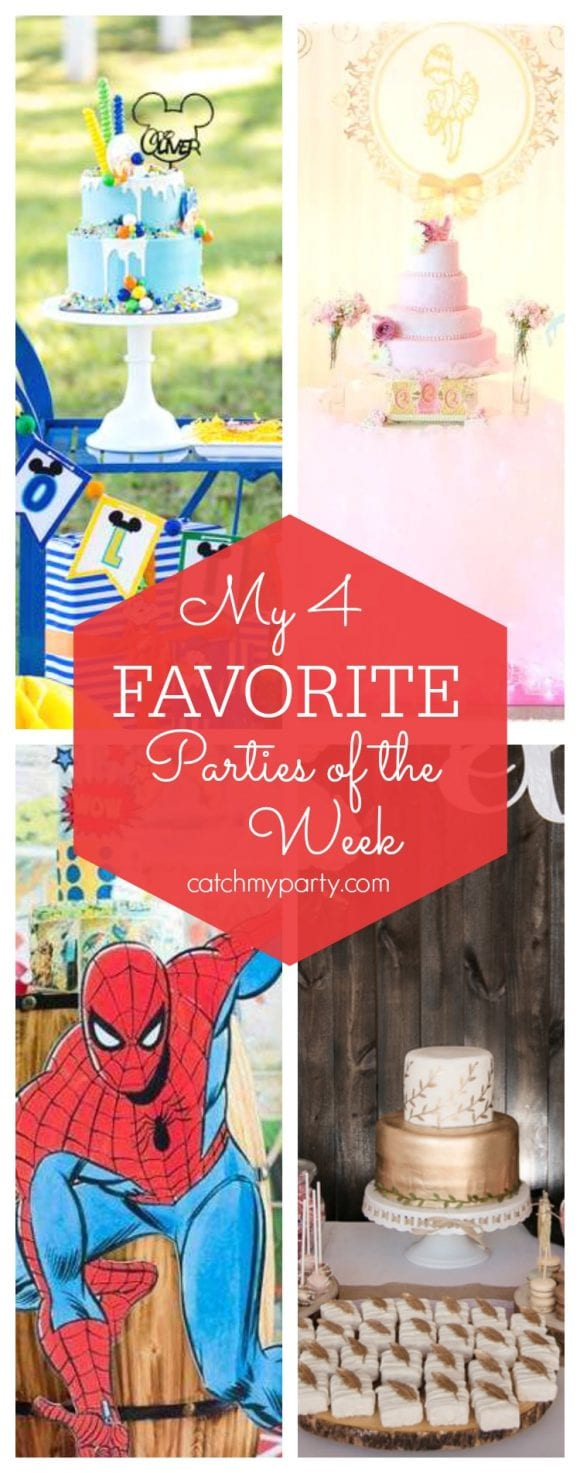 My favorite parties this week include a Mickey Mouse Birthday, a ballerina birthday party, a rustic Spiderman party and a boho chic baby shower | CatchMyParty.com