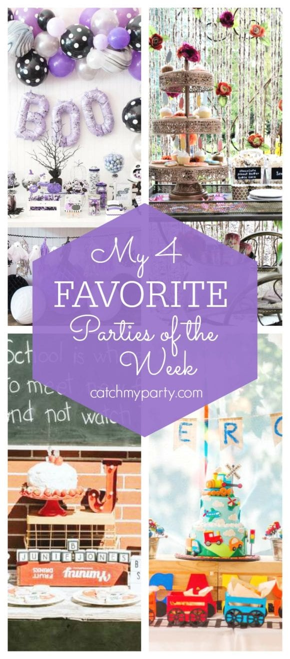 My favorite parties this week include a purple girl Halloween party, a boho pumpkin party, a Junie B. Jones Back to School Party and a transport 1st party | CatchMyParty.com