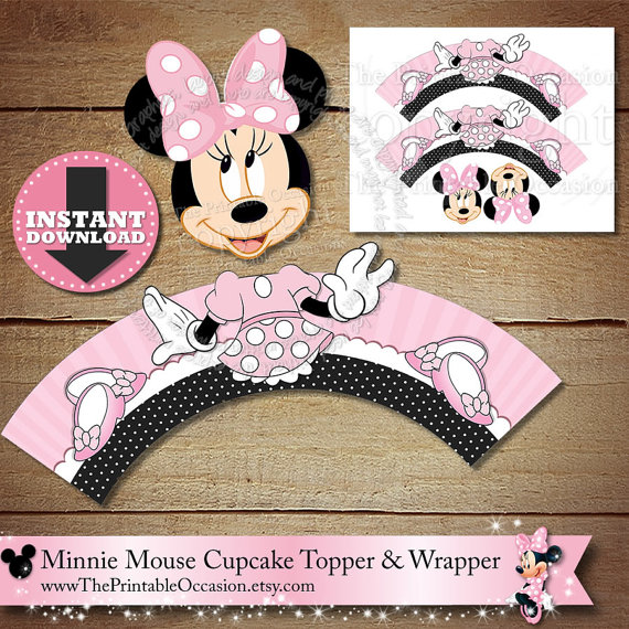 Minnie Mouse Cupcake Topper and Wrapper| CatchMyParty.com