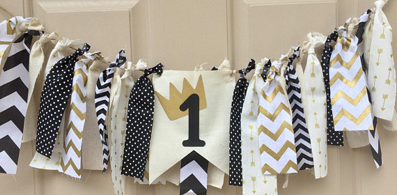 Wild One Fabric Highchair Garland | CatchMyParty.com