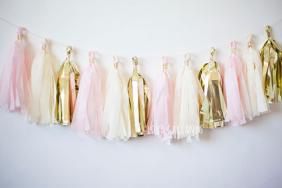 Pink and Gold Tassel Garland | CatchMyParty.com