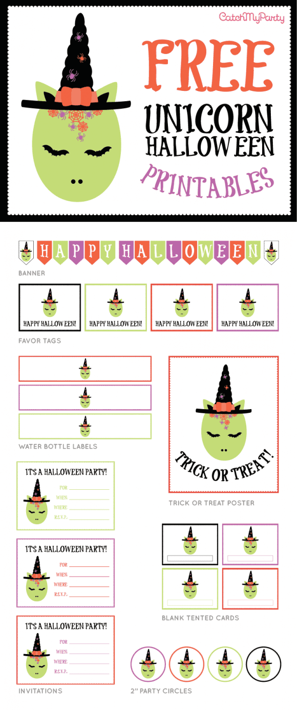 FREE Unicorn Halloween Party Printables | CatchMyParty.com