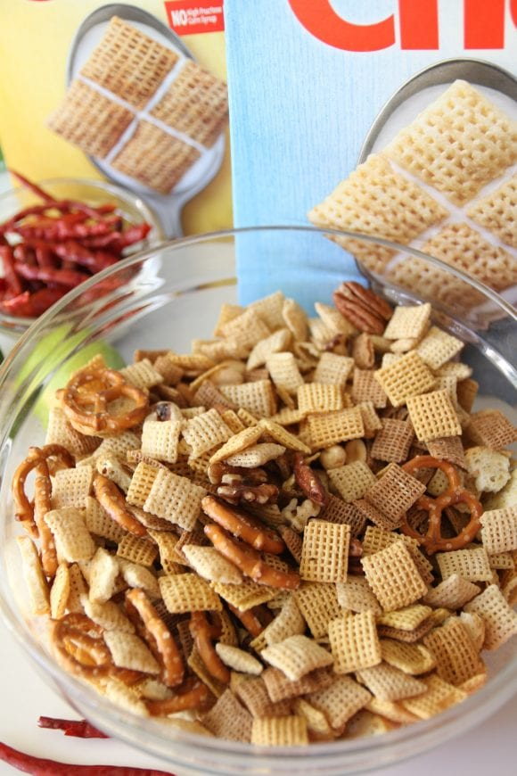 Making Spicy Chex Mix | CatchMyParty.com