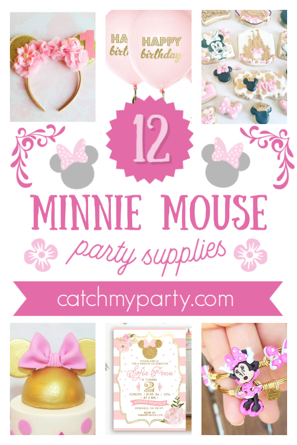 Collage of 12 wonderful Minnie Mouse party supplies