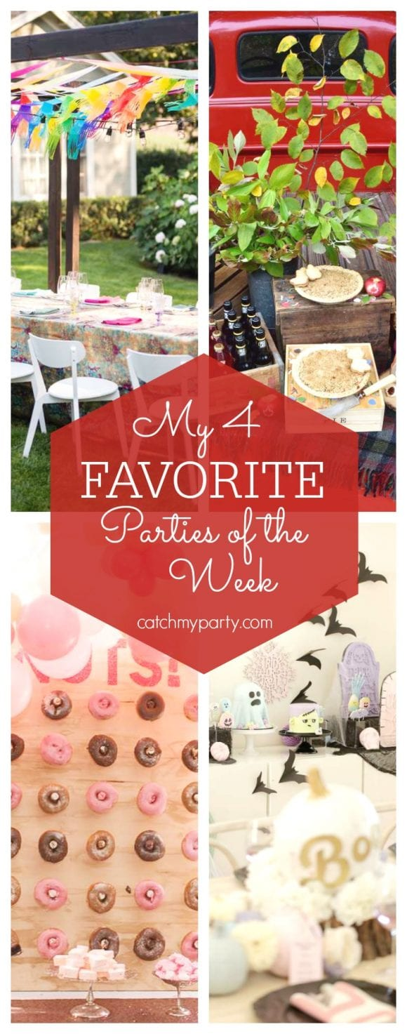 My favorite parties this week include a Groovy 50th birthday party, a fall tailgate party, a donut birthday party and a pastel Halloween party| CatchMyParty.com