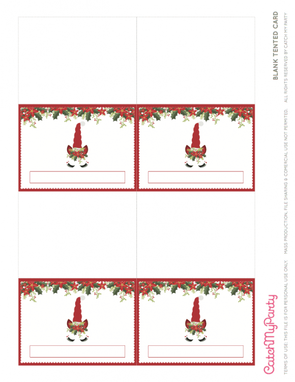 Free Unicorn Christmas Party Printables - Blank Tented Cards | CatchMyParty.com