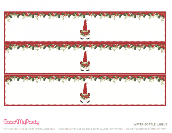 Free Unicorn Christmas Party Printables - Water Bottle Labels | CatchMyParty.com