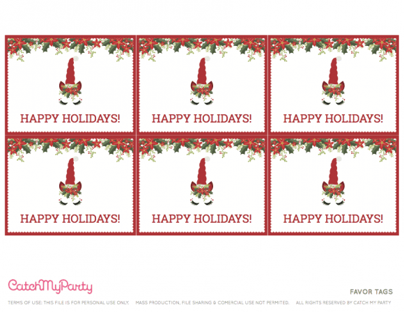 Free Unicorn Christmas Party Printables - Favor Tags | CatchMyParty.com