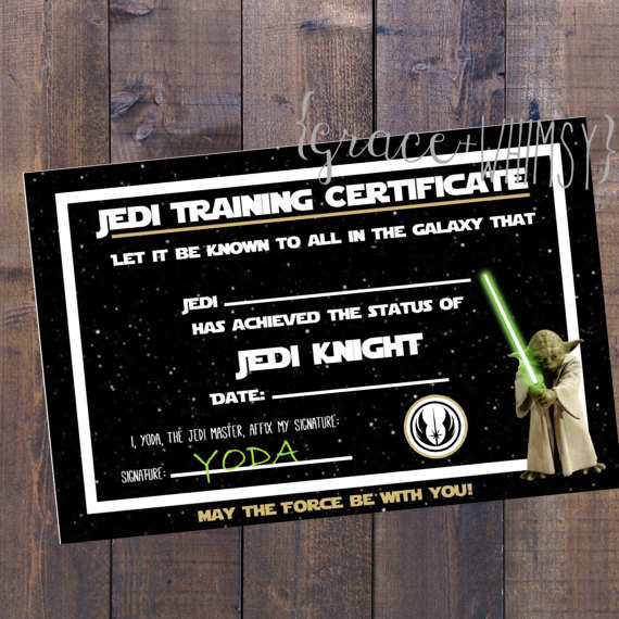 Jedi Training Certificate | CatchMyParty.com