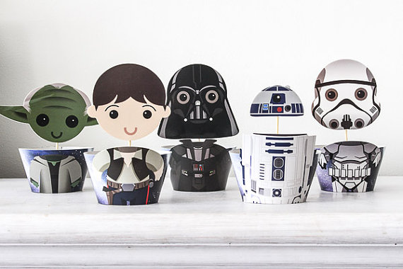 Star Wars Cupcake Toppers and Wrappers| CatchMyParty.com