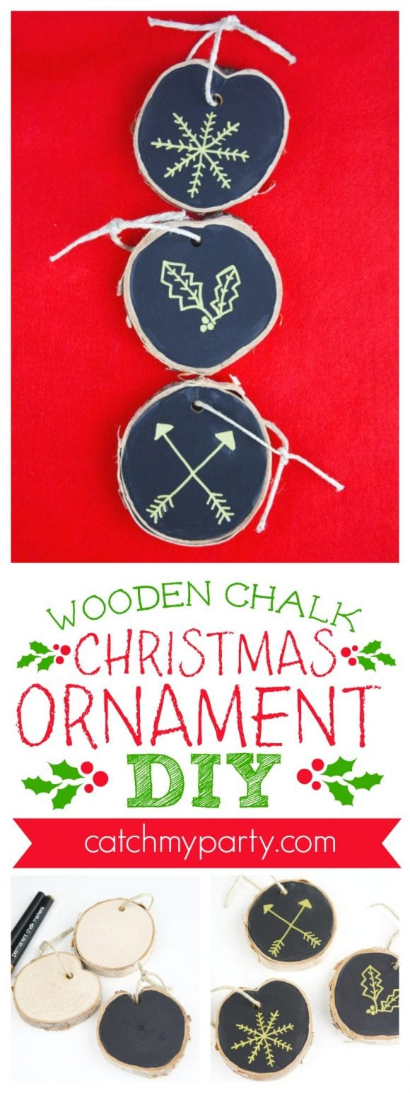 Wooden Chalk Christmas Ornament DIY | CatchMyParty.com