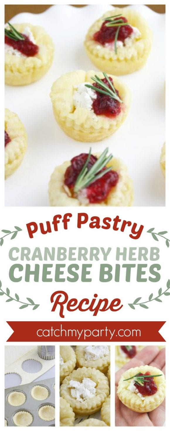 Puff Pastry Cranberry Herb Cheese Bites Recipe | CatchMyParty.com