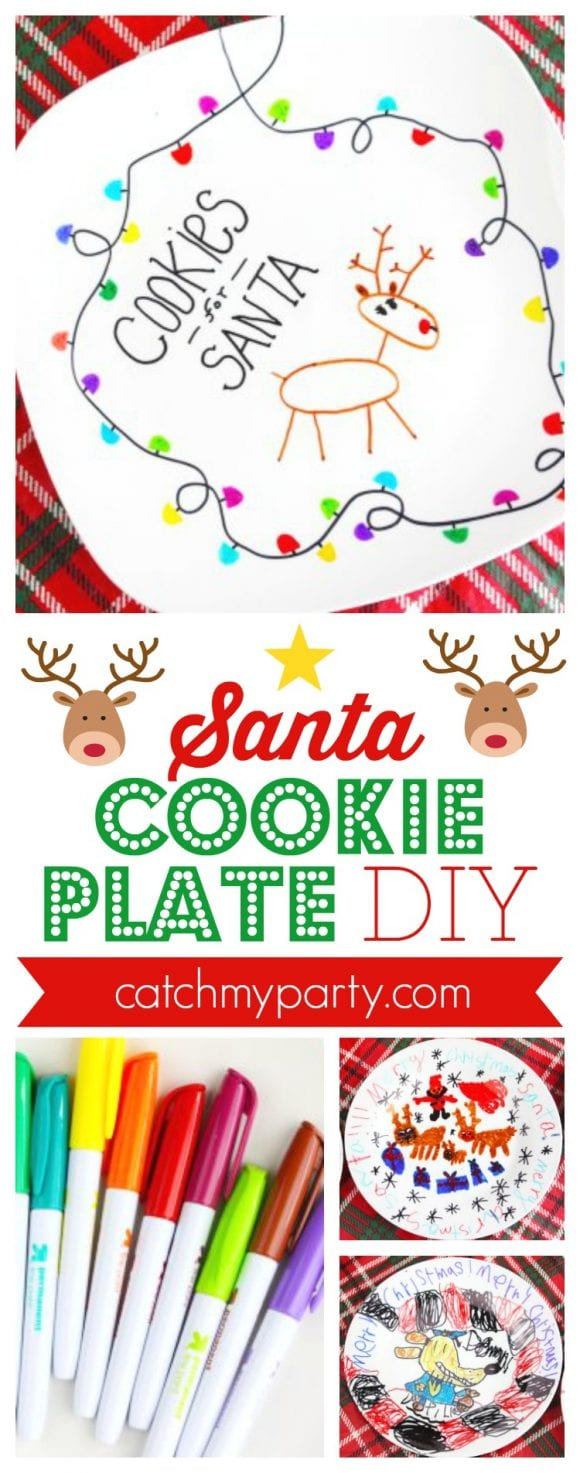 Santa Cookie Plate DIY | CatchMyParty.com