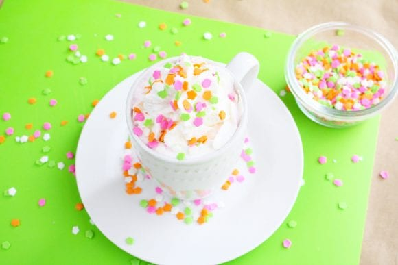 Top milk with whipped cream and colorful sprinkles | CatchMyParty.com
