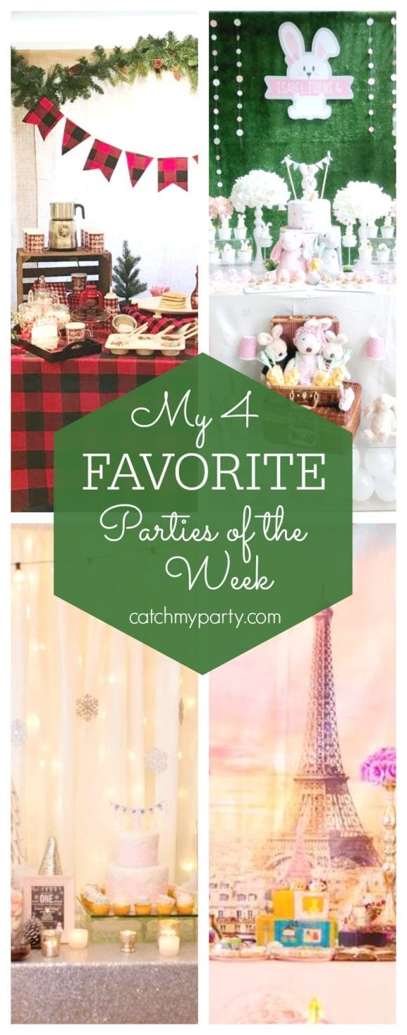 My favorite parties this week include a Pancakes and pajamas Christmas party, a rabbit party, a winter wonderland 1st birthday & a Parisian Tsum Tsum party | CatchMyParty.com