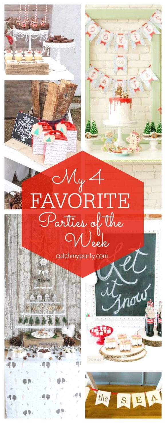 My favorite parties this week include a Rudolph The Red-Nosed Reindeer Christmas Party, a Christmas party, a Santa and a winter wonderland cookie party | CatchMyParty.com