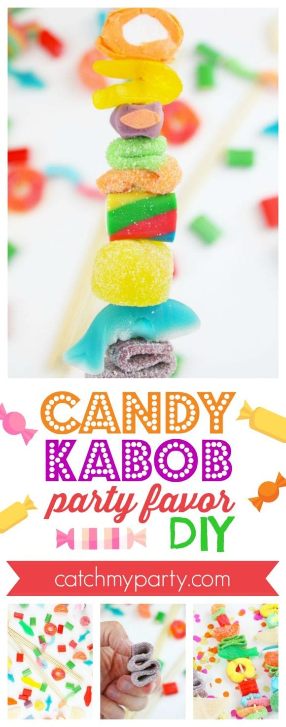 Candy Kabob Party Favor DIY | CatchMyParty.com