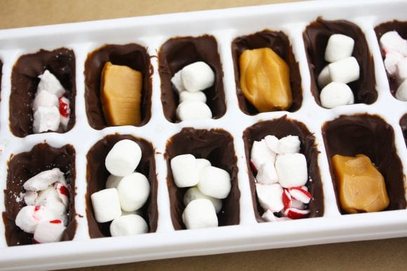 Fill the chocolate with caramels, mini marshmallows and crushed peppermint candies | CatchMyParty.com