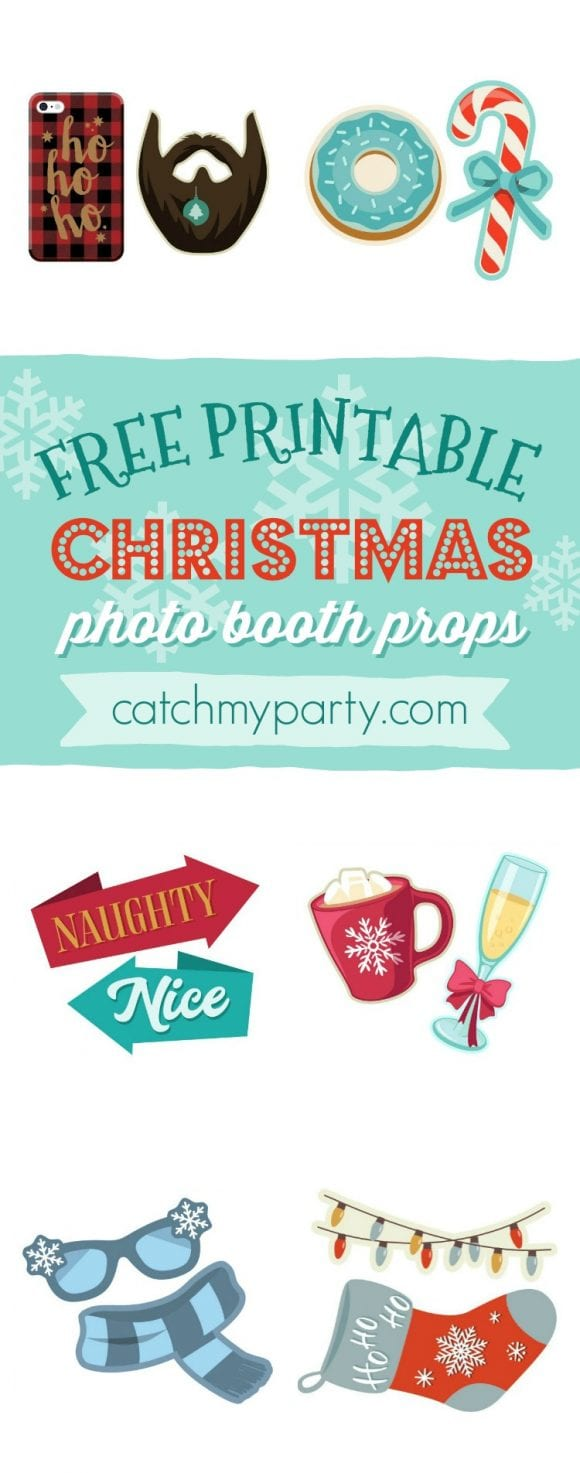 Free Printable Christmas Photo Booth Props | CatchMyParty.com