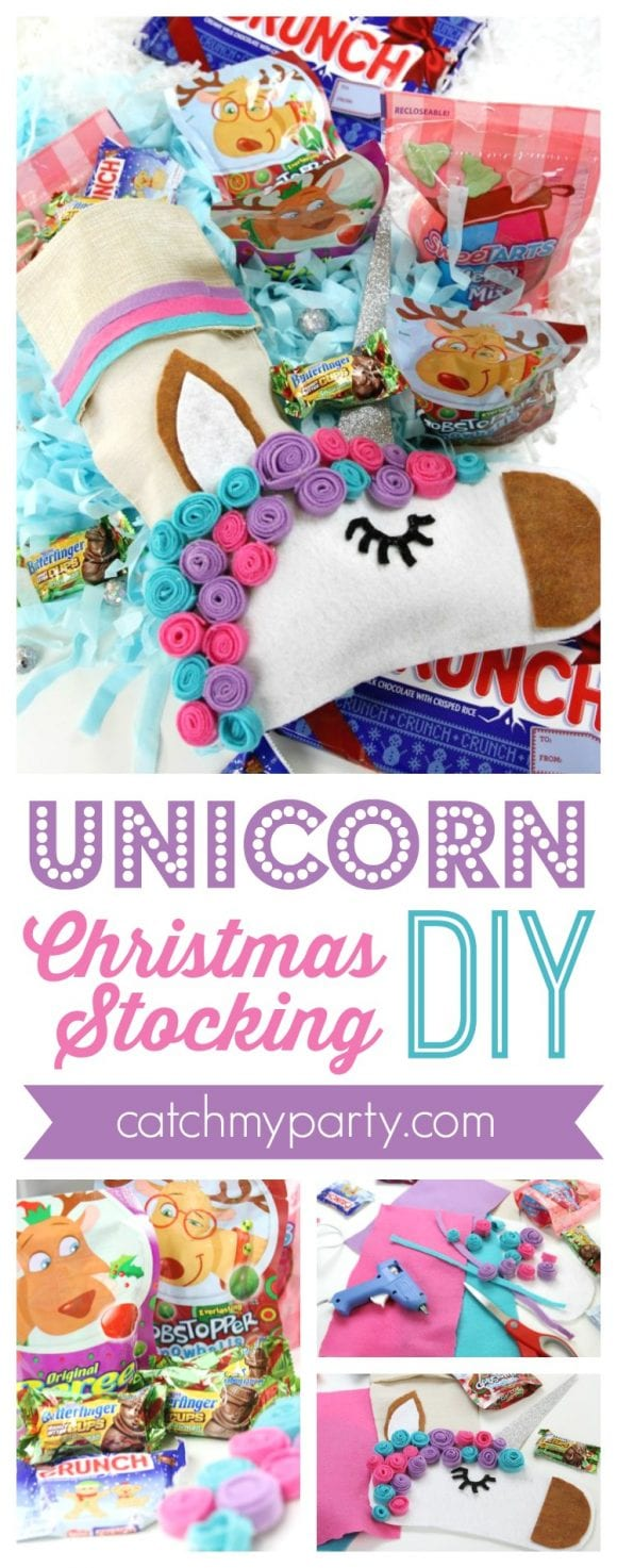 Unicorn Christmas Stocking DIY | CatchMyParty.com