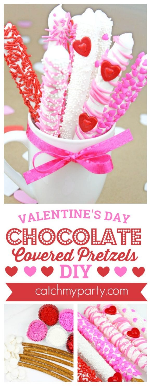 Valentine's Day Chocolate Covered Pretzels DIY | CatchMyParty.com