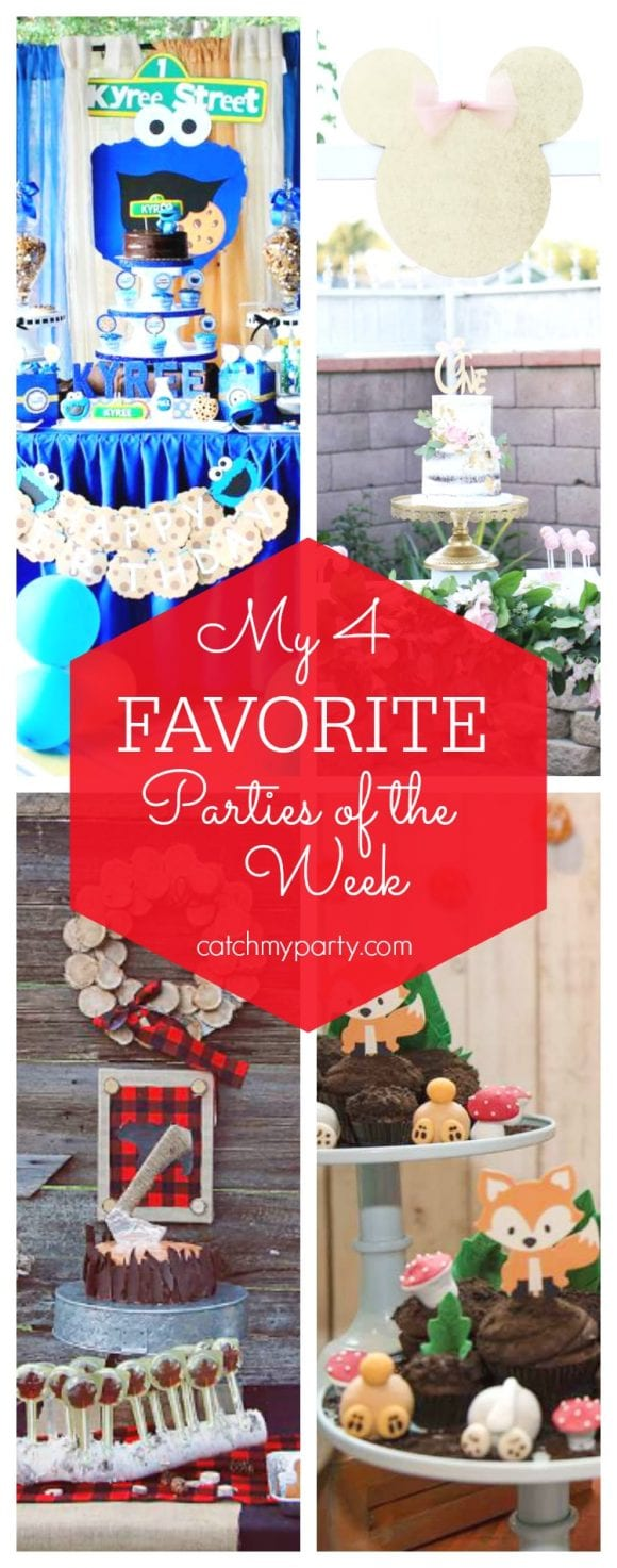 My favorite parties this week include a fun Cookie Monster birthday party, a Minnie 1st birthday, a twins lumberjack party and a woodland fox party | CatchMyParty.com