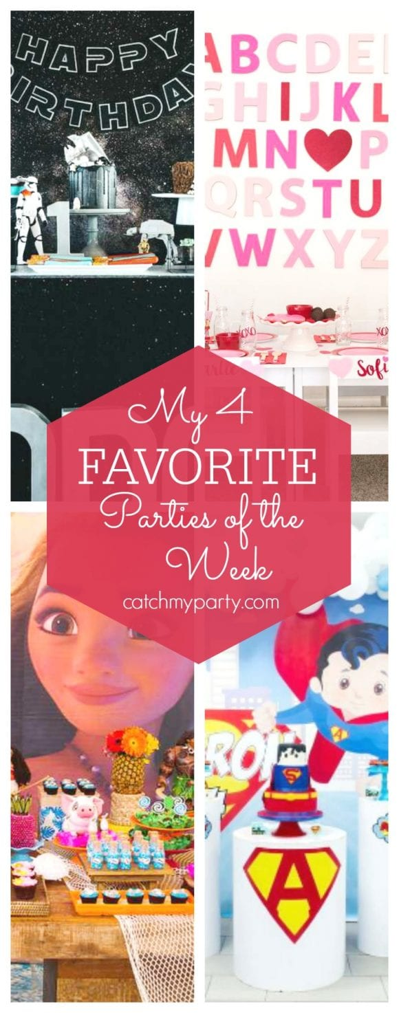 My favorite parties this week include a cool Star Wars 1st birthday party, a cute Valentine's Day party, a tropical Moana party and a Super-Man birthday | CatchMyParty.com
