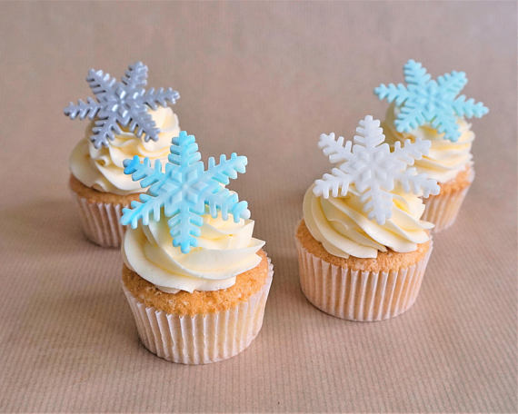 Snowflake Cupcake Toppers | CatchMyParty.com