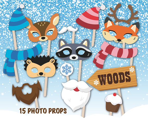 Winter photo booth props | CatchMyParty.com