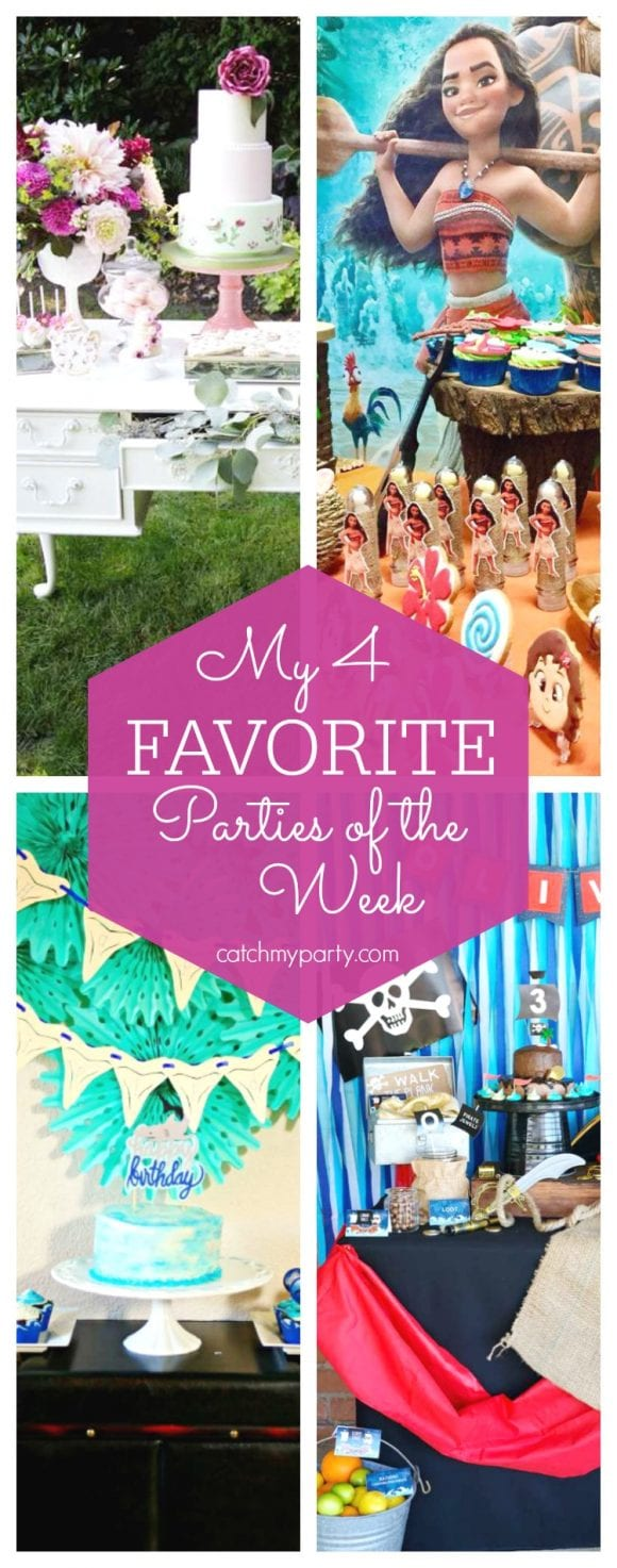 My favorite parties this week include a Secret Garden bridal shower, a Moana birthday, a shark themed party and a pirate birthday party | CatchMyParty