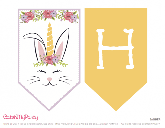 Free Easter Bunny Unicorn Party Printables - Banner | CatchMyParty.com