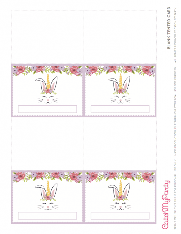 Free Easter Bunny Unicorn Party Printables - Blank Tented Cards | CatchMyParty.com