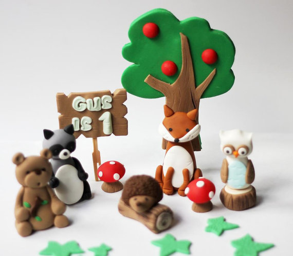 Fondant Woodland Cake Topper | CatchMyParty.com