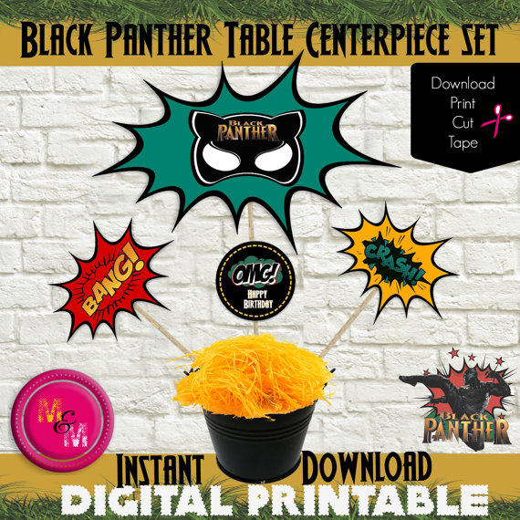 Black Panther Centerpiece | CatchMyParty.com