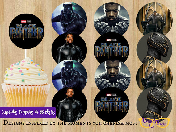 Black Panther Cupcake Toppers | CatchMyParty.com