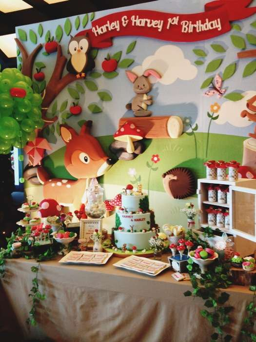 Woodland dessert table | CatchMyParty.com