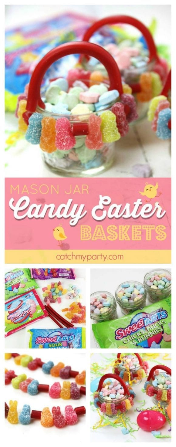 SweeTARTS Mason Jar Candy Easter Baskets DIY | CatchMyParty.com