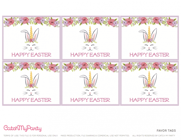 Free Easter Bunny Unicorn Party Printables - Favor Tags | CatchMyParty.com