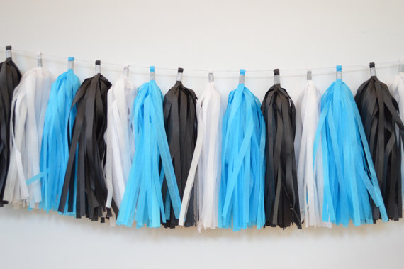 Blue, Black and White Tassel Garland | CatchMyParty.com