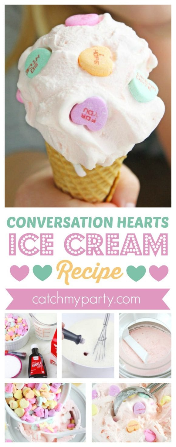 Conversation Hearts Ice Cream Recipe | CatchMyparty.com