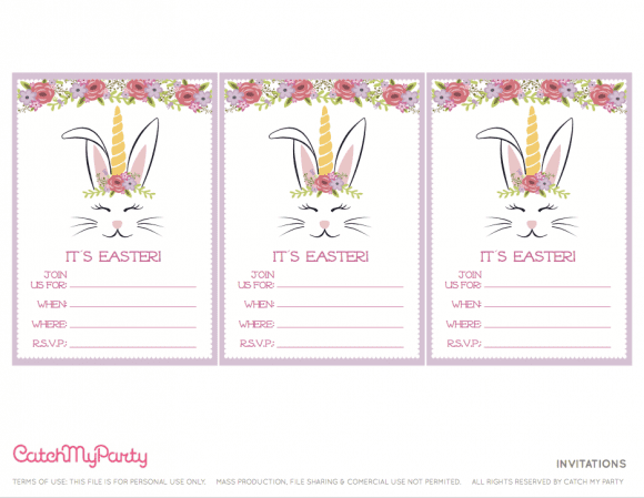 Free Easter Bunny Unicorn Party Printables - Invitations | CatchMyParty.com - Invitations | CatchMyParty.com