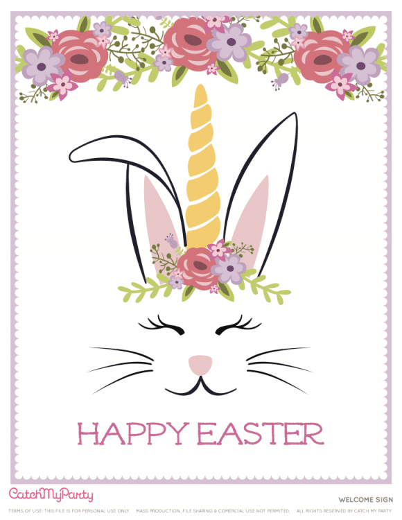 Free Easter Bunny Unicorn Party Printables - Welcome Sign | CatchMyParty.com