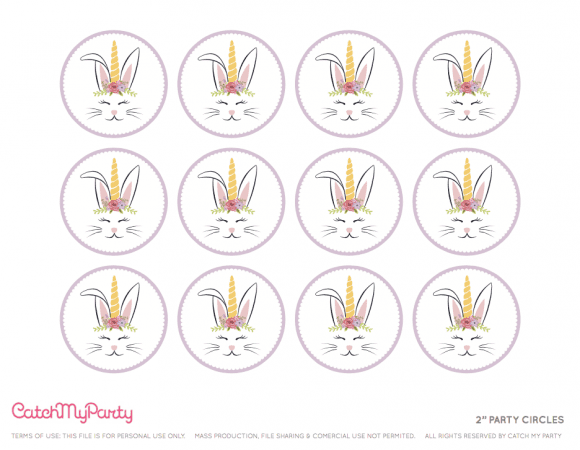 Free Easter Bunny Unicorn Party Printables - Cupcake Toppers | CatchMyParty.com