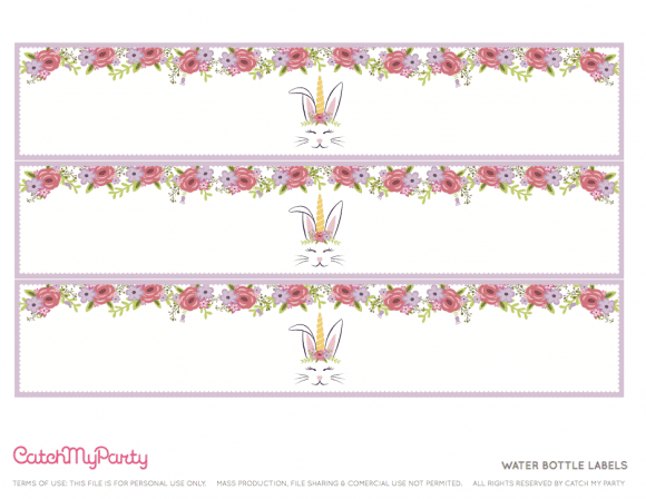 Free Easter Bunny Unicorn Party Printables - Water Bottle Labels | CatchMyParty.com