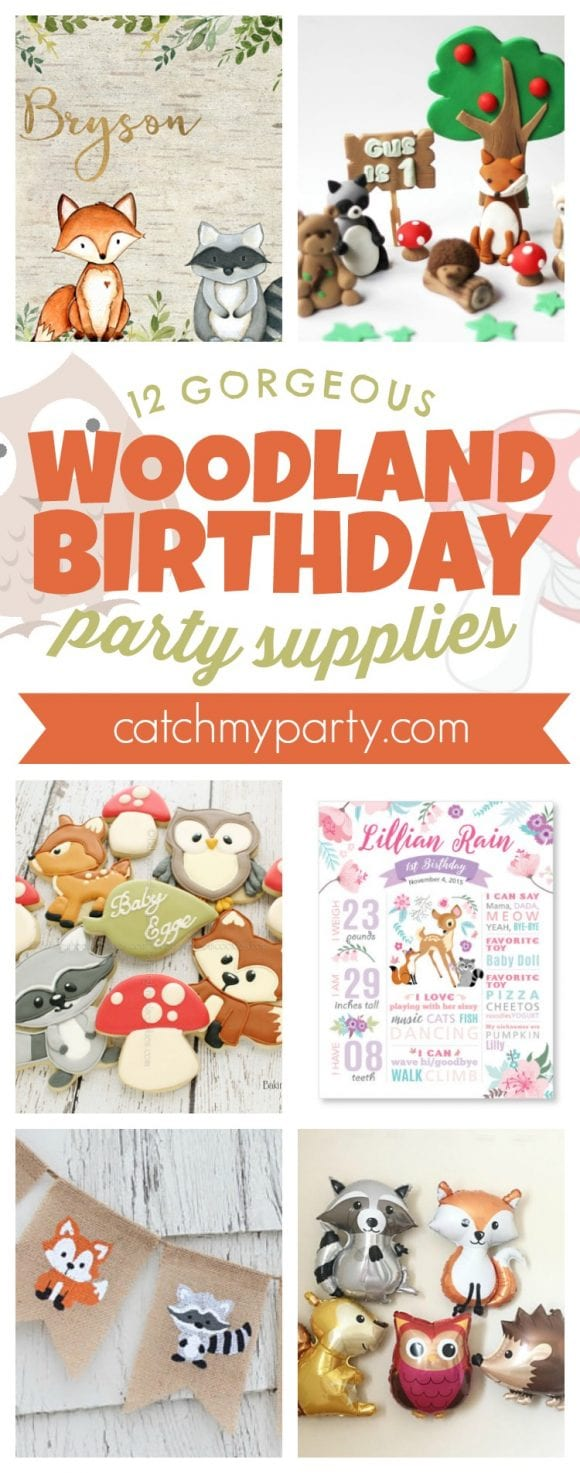 12 Gorgeous Woodland Birthday Party Supplies | CatchMyParty.com
