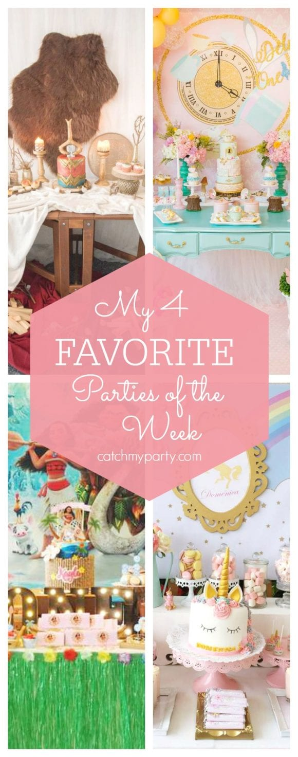 My favorite parties this week include a Wonder Woman birthday party, an Alice in Wonderland party, a Moana birthday and a unicorn party | CatchMyParty