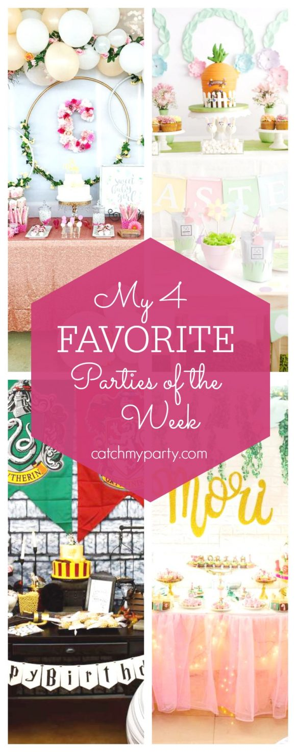 My favorite parties this week include a Stunning Floral Baby Shower, an Easter party, a Harry Potter birthday and a tropical safari party | CatchMyParty
