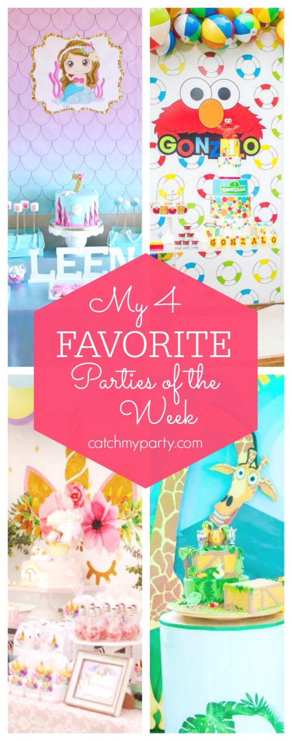 My favorite parties this week include a stunning mermaid party, an Elmo 1st birthday, a unicorn 1st birthday and a jungle Madagascar party | CatchMyParty