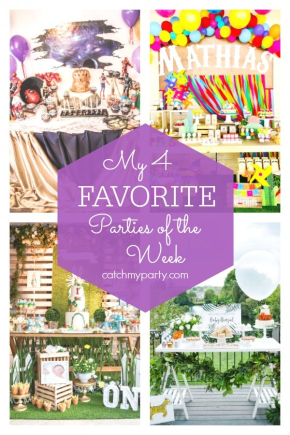 My favorite parties this week include an Avengers Infinity War party, a fiesta Mexicana 1st birthday, a Peter Rabbit 1st birthday and a jungle baby shower | CatchMyParty.com