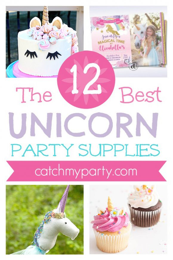 The Best 12 Rainbow Unicorn Party Supplies | CatchMyparty.com